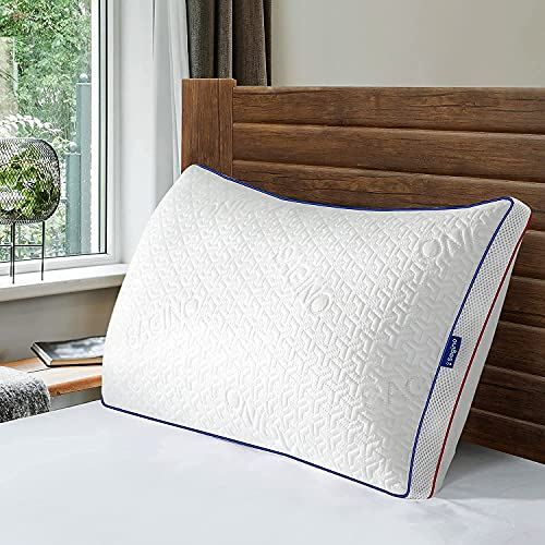 Sa gi no Shredded Memory Foam Pillow, Cooling Pillow with Cool & Warm Double-Side Design, Adjustable Loft, Premium Gel-Infused Pillow with Proper Orthopedic Support for All Sleep Positions, Queen