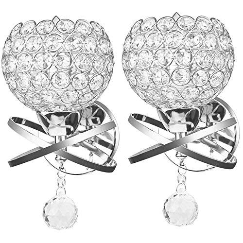 ONEVER, Kristall Wandleuchte Modern Style Dekorative Wandleuchte Bett Seitenwandleuchte DIY E14 Fassung inkl. Leuchtmittel Silber (2 Stück)