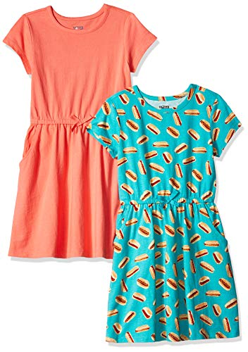 Amazon Brand - Spotted Zebra Kids Girls Knit Short-Sleeve Cinch-Waist Dresses, 2-Pack Hot Dog/Coral, Small