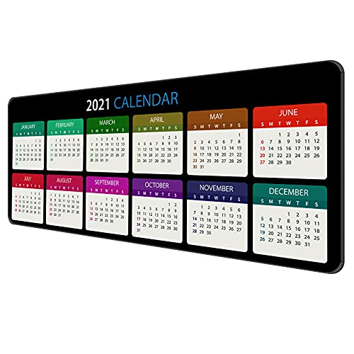 Dynippy Thin Extended Gaming Mouse Pad with Stitched Edges Large Mousepad Long XXL Keyboard and Mouse pad Desk Mat for Gaming Office & Home - 2021 Calendar