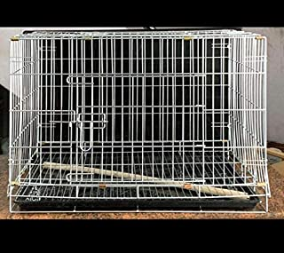 Zinc Dog cage with Double Door Folding Metal cage with Removable Tray and paw Protector for Dogs, Cats and Rabbits - Centr...