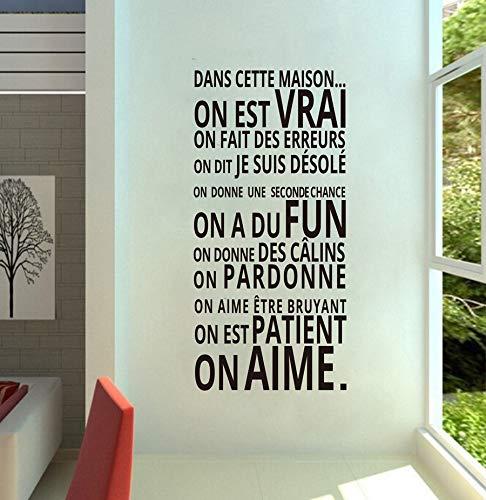 Französische Version DANS CETTE MAISON Vinyl Wandaufkleber Hausordnung Wandtattoos Für Zuhause Wohnzimmer Dekoration 70X36 CM