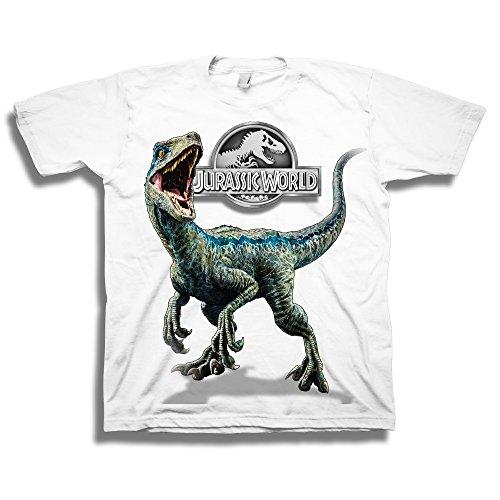Jurassic World Boys' Big 2 Blue Raptor Short Sleeve T-Shirt, White, S