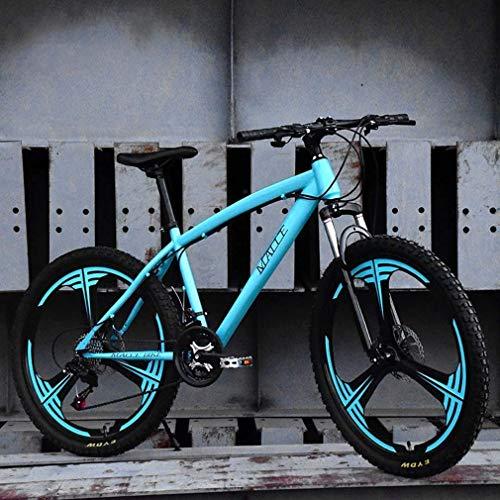 GQQ Bicicletta a Velocità Variabile, Mountain Bike per Adulti, Bicicletta da Motoslitta da Spiaggia Freni a Doppio Disco per Biciclette, Cerchi in Alluminio 24 Pollici, Uomo Donna Generale, Blu, 21 V