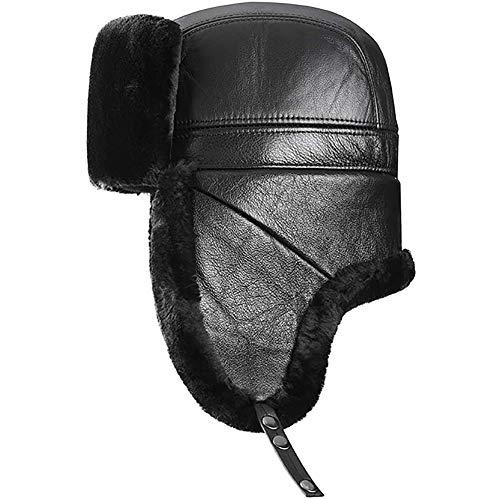 ZHIRCEKE Chapka Trapper Hat Expret Sombrero de aviador de piel sintética para hombre gorra de piloto (color: café, tamaño: 56-58), negro, XXL