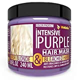 Purple Hair Mask for Blonde with Keratin & Jojoba Oil - Platinum & Silver Hair - Instantly Eliminate Brassiness & Yellows - Made in USA - Hair Toner - Bleached & Highlighted Hair - Sulfate Free - 8 oz