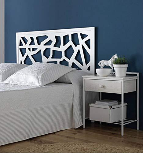 Cabecero de forja Moderno Mireia - Blanco 36, Cabecero para colchón de 150 cm