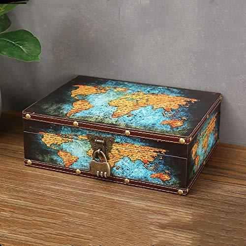 Cofre del tesoro de madera vintage con superficie de cuero de mapa | Caja del tesoro Cofre del tesoro pirata para niños con candado, también para adolescentes y adultos 10.6 '* 8.6' * 3.6 '