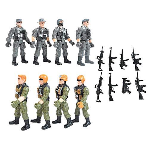 TOYANDONA 8Pcs Soldier Playset Fuerzas Especiales Figuras de Acción Hombres Rangers Swat Modelos con Armas Y Accesorios Counter Strike Juguetes