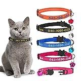 Collares de Gato Personalizados con Campana, Hebilla de Seguridad...