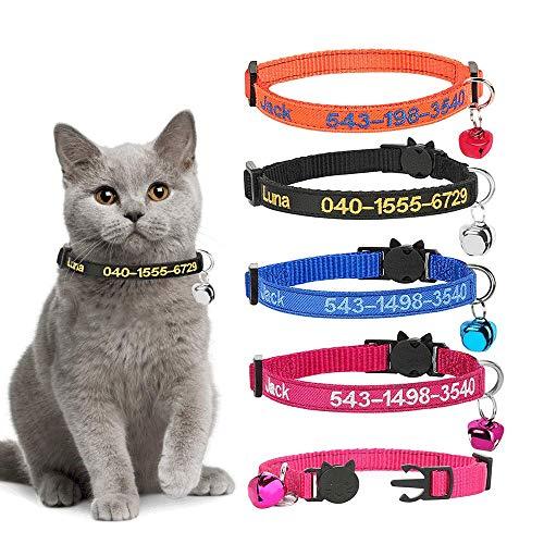 Collares de Gato Personalizados con Campana, Hebilla de Seguridad Ajustable Personalizada para Collares de Gato con Nombre de identificación Bordado en el Collar de Gatito