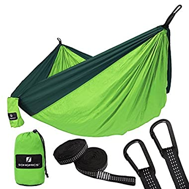 SONGMICS Ultra-Lightweight & Portable Hammock Hold up to 660LB Single & Double Parachute Nylon Camping Hammock Swing Bed 118'' x 78'' for Outdoor Backpacking, Hiking, Yard, Traveling UGDC20GN