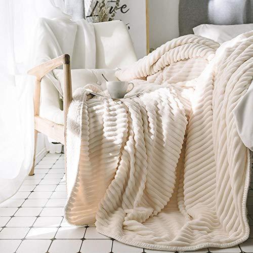 XUMINGLSJ Manta de Microfibra Color sólido, Extra Suave Mantas para Sofás, Multifuncional para sofá, Cama, Viajes, Adultos, niños -Blanco_Los 2.0 * 2.3m