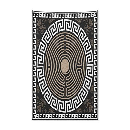 ABAKUHAUS Mäander Wandteppich und Tagesdecke, Typisch Griechisch Wellen, aus Weiches Mikrofaser Stoff Klare Farben ohne verblassen Druck, 140 x 230 cm, Dunkelbraun Kokosnuss Ecru und Dunkle Taupe