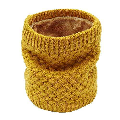 WWinter Fleece Lined Knitted Neck Warmer Scarf, 2 or 1 Pack Neck Gaiter for Women Mens Teens, Yellow