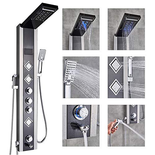 Rozin LED Duschpaneel mit Temperaturanzeige Wasserfall Dusche, Regendusche, 3 Massagedüsen ABS Handbrause Wanneneinlauf und Bidet Spray 6 Funktionen Edelstahl Duschsystem Nickel Gebürstet und Schwarz