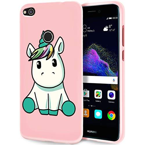 Zhuofan Plus Funda Huawei P8 Lite 2017/P9 Lite 2017, Silicona Suave Rosada TPU Gel con Diseño Print Pattern Anti-rasguños Shockproof Protactivo Cover para Huawei P8 Lite 2017/P9 Lite 2017, Unicornio