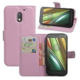 HualuBro Moto E3 Hülle, Premium PU Leder Leather Wallet HandyHülle Tasche Schutzhülle Flip Case Cover für Lenovo Motorola Moto E3 Smartphone (Pink)