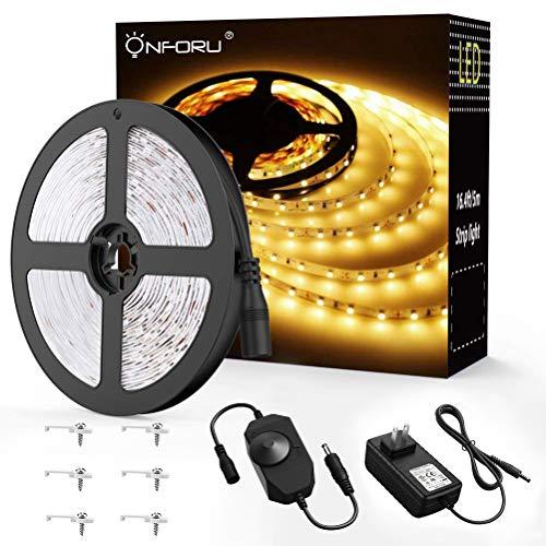Onforu 16.4ft LED Strip Light, 3000K Warm White Dimmable Tape Light, 5m 12v Ribbon Light, 2835 LEDs Flexible Strip Lighting for Home, Kitchen, Under Cabinet, Bedroom, Non-Waterproof