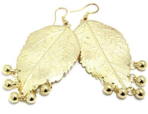 2LIVEfor Lange statement oorbellen blad goud lange ornamenten druppels oorbellen retro boho oorbellen lang hangend bladeren goud vintage zeer groot moderne druppelvorm bolletjes