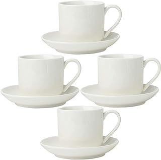 Set de 4 Tasses à Expresso avec soucoupes Assorties - Porcelaine Blanche de première qualité, Coffret Cadeau 8 pièces Demi...