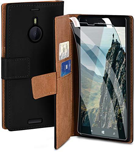 moex Handyhülle für Nokia Lumia 1520 - Hülle mit Kartenfach, Geldfach & Ständer, Klapphülle, PU Leder Book Hülle & Schutzfolie - Schwarz