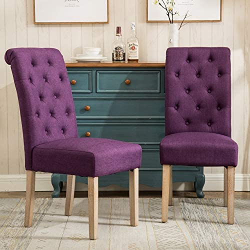 Best Roundhill Furniture Habit Solid Wood Tufted Parsons Purple Dining Chair, Set of 2