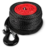 STEGODON 3/8' x 100ft Synthetic Winch Rope 23,809lbs Dyneema Winch Cable Line with Hook and Sleeve Protection Car Tow Recovery Cable for 4WD Off Road Vehicle Truck SUV Jeep(Black)