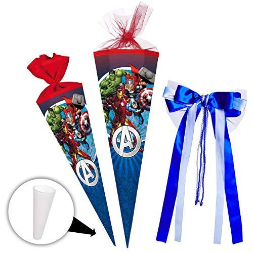 alles-meine.de GmbH Schultüte -  The Avengers - Assenble Avenger  - 85 cm - eckig - incl. große 3-D Effekt _ Schleife - Tüllabschluß - Zuckertüte - mit / ohne Kunststoff Spitze..
