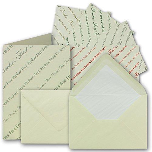 Kerstkaartenset vouwkaarten met enveloppen DIN A6/C6 25 sets dubbele kaarten Vrolijk feest in 5 verschillende kleuren &gevoerde enveloppen