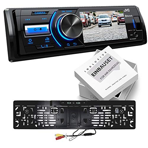 JVC KDX560BT 1-DIN Media Receiver kleurendisplay inclusief camera voor VW Polo 9N tot 2009 zwart met ISO, KDX560BT+Kamera+Set, Kentekenplaathouder camera