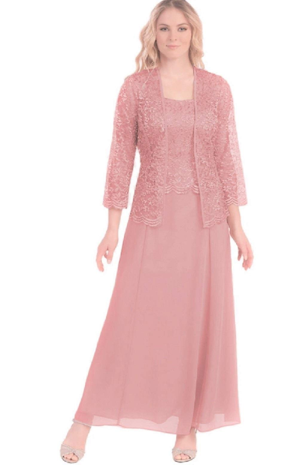 Mother Of The Bride Dresses - Womens Long Mother Of The Bride Evening Formal Lace Dress With Jacket