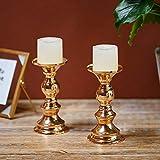 Wedecor Kerzenhalter für Stumpenkerzen, Metall, goldfarben, 2 Stück Fit 50mm Dia Canlde 15cm H - 3