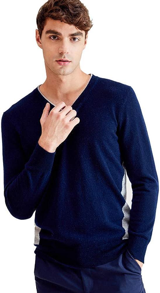 zhili Men's V-Neck Pullover Cashmere Sweater