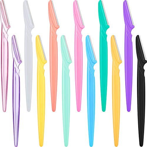 12 Pieces Eyebrow Razor Shaper Shavers Trimmers for Women and Men Face Hair Removers (Multi-Colors)
