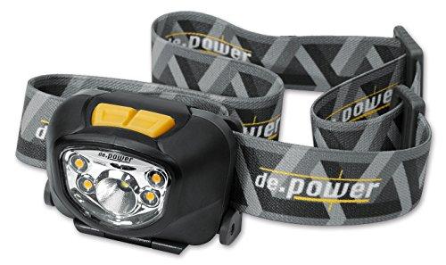 de.power LED hoofdlamp met spot- en met groothoeklicht, dimbaar, 3x AAA, 210 lumen (ANSI) DP-801AAA-C