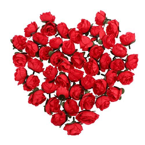 WINOMO Seiden Rosen Blüte 50 * 3cm künstliche Rosen Blume Köpfe Hochzeit Dekoration (rot)
