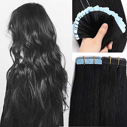 SEGO Tape Extensions Echthaar 20 Stück Klebeband Verlängerung Haarteile 100% Remy Human Haar Kleber Schwarz#1 22'(55cm)-30g