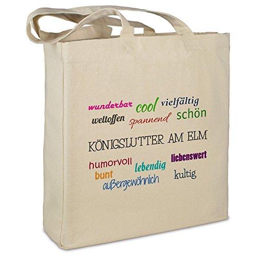Stofftasche mit Stadt/Ort Königslutter am Elm  - Motiv Positive Eigenschaften - Farbe beige - Stoffbeutel, Jutebeutel, Einkaufstasche, Beutel