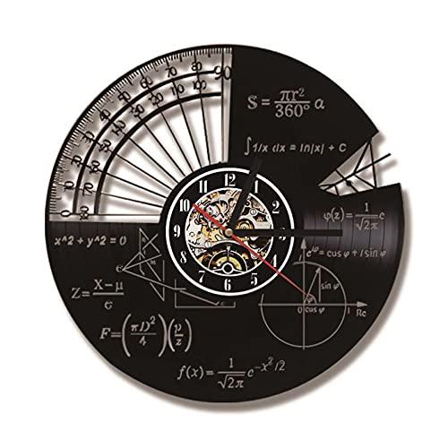 KDBWYC Temas matemáticos Reloj de Pared con Registro Led Fórmula matemática y Regla Reloj de Pared de Cuarzo Colgante Antiguo Hueco Decorativo para el hogar sin LED