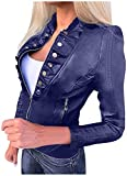 Xucherry Women Cool Faux Leather Jacket Fitted Coat Fall Short Jacket,Dark Blue,3X-Large