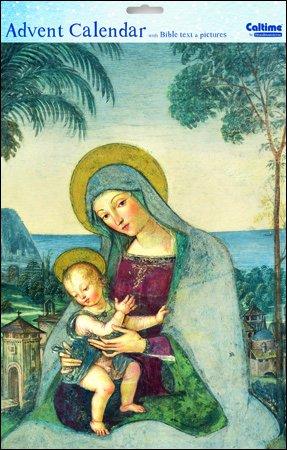 Caltime Religiöse Madonna und Kind Adventskalender 24,5cm x 35cm Weiß mit Kuvert