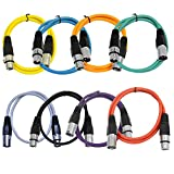 Seismic Audio - SAXLX-3-Multi - 8 Pack of Colored 3 Foot XLR Patch Cables - 3' Mic Cable Cords
