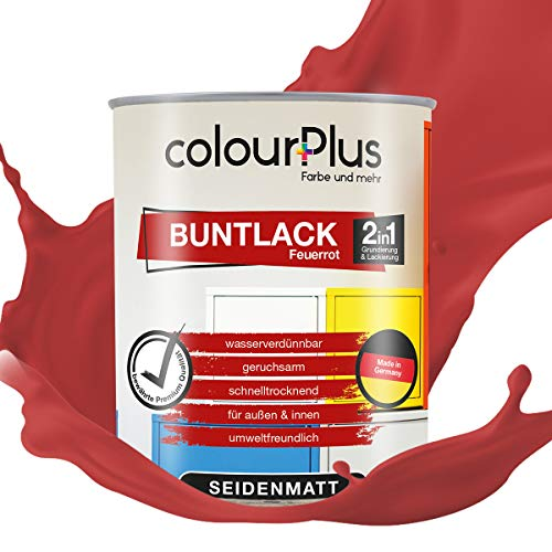 colourPlus® 2in1 Buntlack (750ml, RAL 3000 Feuerrot) seidenmatter Acryllack - Lack für Kinderspielzeug - Farbe für Holz - Holzfarbe Innen - Made in Germany
