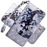 COTDINFOR Nokia 2.2 Hülle 3D-Effekt Painted cool Schutzhülle Flip Bookcase Handy Tasche Schale mit Magnet Standfunktion Etui für Nokia 2.2(2019) Cute Husky BX.