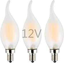 OPALRAY Low Voltage DC 12V Input 2W LED Candelabra Bulb, Dimmable with 12V DC Dimmer, Warm White Light, Frosted Glass Shel...