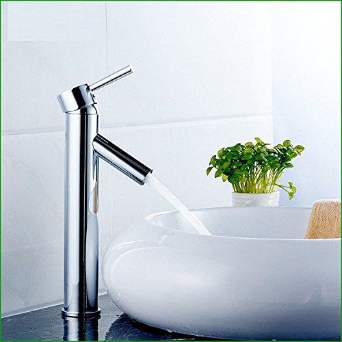 Water Tower - Grifo de latón macizo sin plomo y válvula de cerámica, grifo mezclador de cascada, de cobre cromado, lavabo, baño, bañera de agua caliente y fría