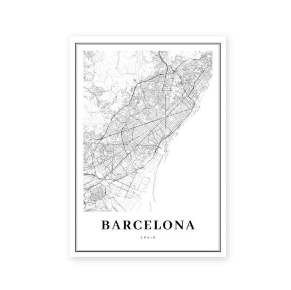 Mapa de Barcelona Imprimir España Calle España Calle Mapa de Carreteras Cartel Moderno Pintura en Lienzo Negro Blanco Imagen Oficina Arte de la pared Decoración 50 * 70 cm Sin marco: Amazon.es: