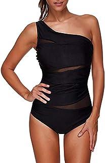 comprar comparacion FeelinGirl Monokini para Mujeres con Uno/Dos Tirantes Traje de Baño de Una Pieza Bañador Liso Talla Grande
