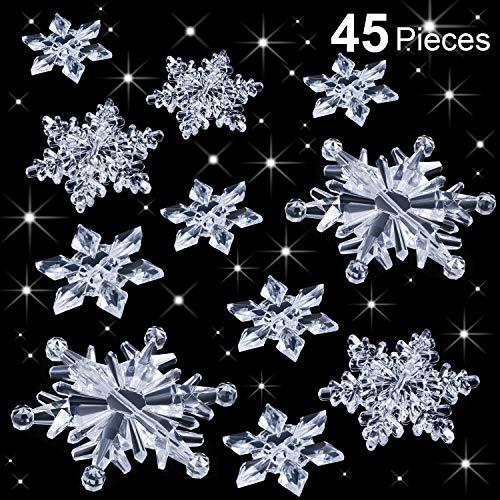 Boao 45 Pezzi Trasparente Fiocchi di Neve in Cristallo Ornamenti Albero di Natale Fai da Te Decorazione Natalizia Invernale
